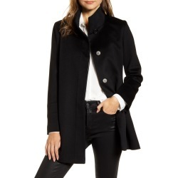 Petite Women's Fleurette Stand Collar Wool Car Coat, Size 14P - Black (Nordstrom Exclusive)
