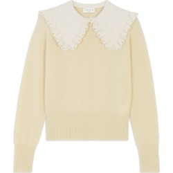 Women's Sandro Embroidered Collar Sweater, Size 0 - Ivory found on Bargain Bro from Nordstrom for USD $247.00