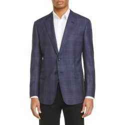 Men's Giorgio Armani Trim Fit Plaid Wool Blend Sport Coat, Size 40 US - Blue found on MODAPINS from LinkShare USA for USD $1437.00