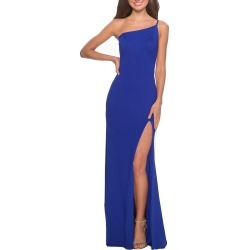 Women's La Femme One-Shoulder Jersey Gown, Size 8 - Blue found on MODAPINS from Nordstrom for USD $198.00