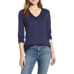 Women's Caslon Embroidered Trim Tee, Size Small - Blue found on MODAPINS from Nordstrom for USD $39.00