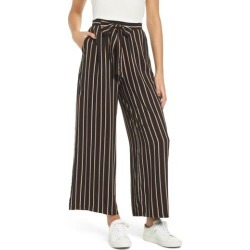 Women's All In Favor Stripe Wide Leg Pants, Size Medium - Black