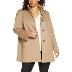 Plus Size Women's Fleurette Stand Collar Wool Car Coat, Size 14W - Brown