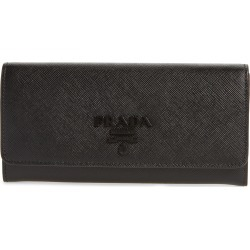 Women's Prada Monochrome Continental Wallet - Black found on MODAPINS from Nordstrom for USD $750.00