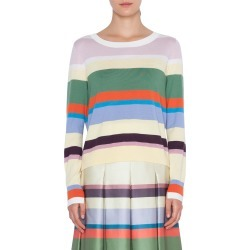 Women's Akris Punto Memphis Glass Stripe Wool Sweater, Size 14 - White found on MODAPINS from Nordstrom for USD $495.00