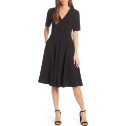 Women's Gal Meets Glam Collection Edith City Crepe Fit & Flare Midi Dress, Size 00 - Black (Nordstrom Exclusive) found on Bargain Bro India from Nordstrom for $178.00