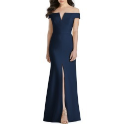 Women's Dessy Collection Notched Off The Shoulder Crepe Gown, Size 0 - Blue