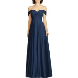 Women's Dessy Collection Lux Ruched Off The Shoulder Chiffon Gown, Size 0 - Blue