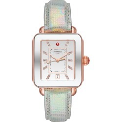 Women's Michele Deco Sport Watch Head & Leather Strap Watch, 34mm X 36mm found on MODAPINS from Nordstrom for USD $495.00