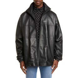 Men's Balenciaga Oversize Lambskin Leather Track Jacket, Size 46 EU - Black found on MODAPINS from Nordstrom for USD $3700.00