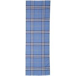 Women's Burberry Giant Check Wool & Silk Gauze Scarf, Size One Size - Blue
