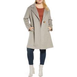 Plus Size Women's Fleurette One-Button Wool Coat, Size 18W - Ivory
