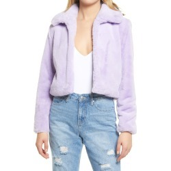Women's Blanknyc Faux Fur Crop Jacket, Size X-Small - Purple found on Bargain Bro from Nordstrom for USD $33.52