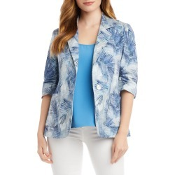 Women's Karen Kane Palm Print Ruched Sleeve Stretch Cotton Jacket found on Bargain Bro India from LinkShare USA for $198.00