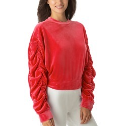 Women's Juicy Couture Ruched Sleeve Stretch Velvet Sweatshirt, Size Medium - Red found on MODAPINS from Nordstrom for USD $79.00