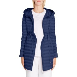 Women's Moncler Barbel Tie Waist Hooded Down Coat, Size 0 - Blue found on Bargain Bro India from Nordstrom for $1210.00