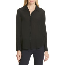Women's Club Monaco Helek Covered Button Silk Shirt, Size X-Large - Black found on Bargain Bro Philippines from Nordstrom for $159.50