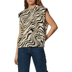 Women's Sandro Zebra Print Sleeveless Blouse, Size 0 - Beige found on Bargain Bro from Nordstrom for USD $76.00