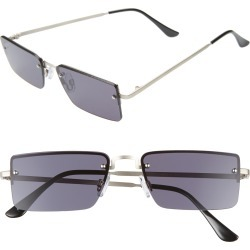 Women's Leith 56Mm Rectangle Sunglasses - Silver/black found on Bargain Bro India from Nordstrom for $19.00