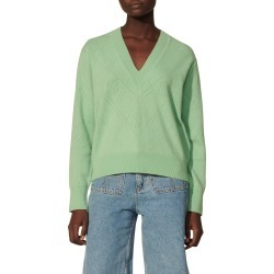 Women's Sandro V-Neck Wool & Cashmere Sweater, Size 4 - Green found on Bargain Bro from Nordstrom for USD $224.20