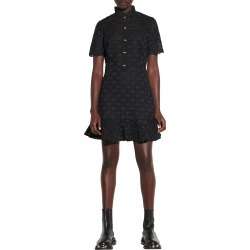 Women's Sandro Lace Fit & Flare Short Sleeve Dress, Size 4 US - Black found on Bargain Bro from Nordstrom for USD $315.40