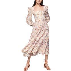 Women's Jonathan Simkhai Ella Floral Long Sleeve Linen Blend Midi Dress, Size 0 - Purple found on MODAPINS from LinkShare USA for USD $495.00