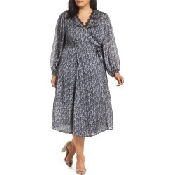Plus Size Women's Lucky Brand Embroidered Floral Wrap Dress
