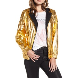 Women's Zadig & Voltaire Koody Metallic Hooded Jacket, Size 8 US / 40 FR - Yellow found on Bargain Bro Philippines from Nordstrom for $276.00