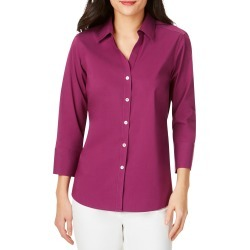 Women's Foxcroft Mary Button-Up Blouse, Size 10 - Purple found on Bargain Bro from Nordstrom for USD $67.64