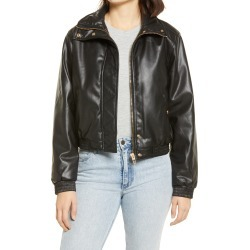 Women's Blanknyc Crop Faux Leather Bomber Jacket, Size X-Small - Black found on Bargain Bro from Nordstrom for USD $33.52