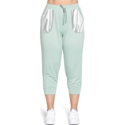 Plus Size Women's Curvyture Satin Pocket Joggers, Size 1X - Green found on MODAPINS from Nordstrom for USD $49.00