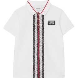 Toddler Boy's Burberry Joseph Monogram Stripe Pique Polo Shirt, Size 3Y - White found on Bargain Bro India from Nordstrom for $180.00