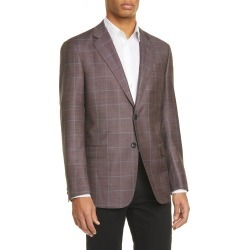 Men's Giorgio Armani Trim Fit Windowpane Wool Sport Coat, Size 48 US - Burgundy found on MODAPINS from LinkShare USA for USD $1377.00
