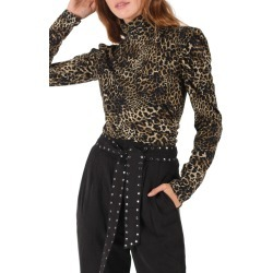 Women's Pam & Gela Animal Print Shirred Mock Neck Cotton Top, Size Large - Brown found on MODAPINS from Nordstrom for USD $125.00