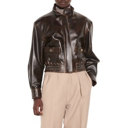 Women's Sandro Leather Bomber Jacket, Size 1 - Black found on Bargain Bro from Nordstrom for USD $680.20