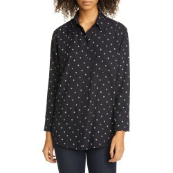 Women's Equipment Daddy Dot Print Long Sleeve Button-Up Shirt, Size Medium - Black