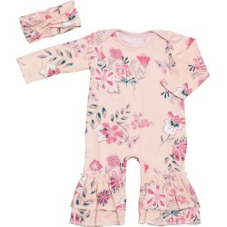 Infant Girl's Baby Grey By Everly Grey Ruffle Romper & Head Wrap Set found on Bargain Bro India from Nordstrom for $32.00