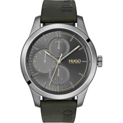 Men's Hugo Discover Multifunction Leather Strap Watch, 46mm found on Bargain Bro India from Nordstrom for $225.00