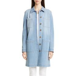 Women's Lafayette 148 New York Corinthia Longline Denim Jacket, Size Medium - Blue found on Bargain Bro Philippines from Nordstrom for $279.20