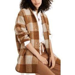 Women's Madewell Buffalo Check Sweater Coat, Size Small - Brown