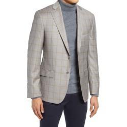 Men's Hart Schaffner Marx Windowpane Plaid Classic Fit Wool Sport Coat, Size 40 Short - Beige found on MODAPINS from Nordstrom for USD $595.00