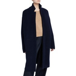 Notched-Collar Wool Cardigan
