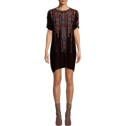 Cleo Velvet Embroidered Shift Tunic Dress found on MODAPINS from neimanmarcus.com for USD $216.00