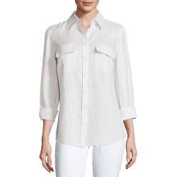 Petite Long-Sleeve Button-Front Linen Top found on Bargain Bro Philippines from neimanmarcus.com for $145.00