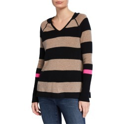 Plus Size Hype Multi-Stripe V-Neck Cashmere Sweater w/ Pop Color Sleeve found on Bargain Bro India from neimanmarcus.com for $350.00