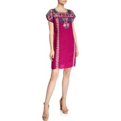 Plus Size Quinn Embroidered Short-Sleeve Shift Tunic Dress found on MODAPINS from neimanmarcus.com for USD $201.00