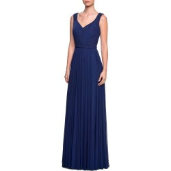 Sleeveless Ruched-Bodice Net Jersey Gown w/ Tonal Rhinestones found on Bargain Bro Philippines from neimanmarcus.com for $398.00