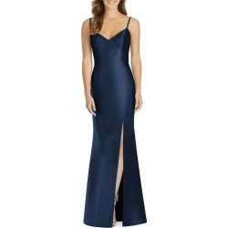 V-Neck Spaghetti-Strap Sateen Twill Gown Bridesmaid Dress with Slit found on MODAPINS from neimanmarcus.com for USD $242.00