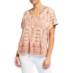 Plus Size Eyal Short-Sleeve Embroidered Boxy Tee