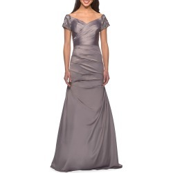 Ruched & Beaded Short-Sleeve Gown found on MODAPINS from neimanmarcus.com for USD $498.00